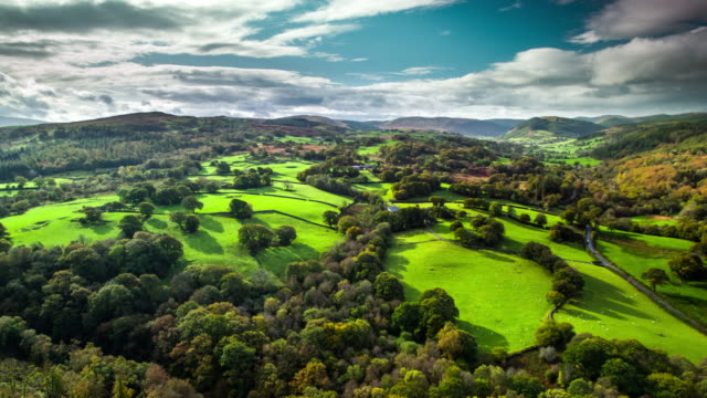 aerial: idyllic country landcape in wales, uk - snowdonia stock videos & royalty-free footage