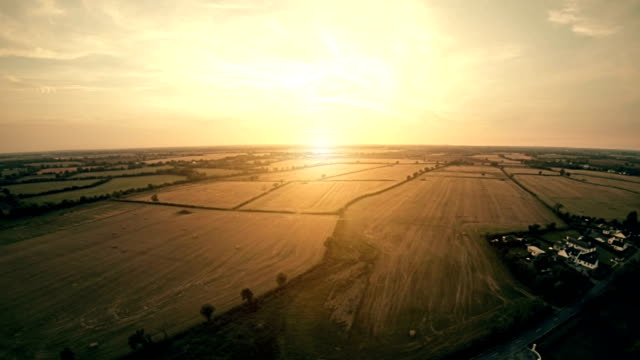 idyllic farmlands at the sunset in autumn - northern ireland stock videos & royalty-free footage