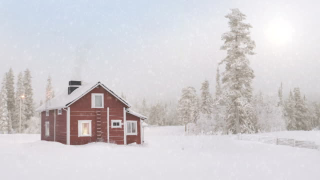 idyllic finland cottage - snow stock videos & royalty-free footage