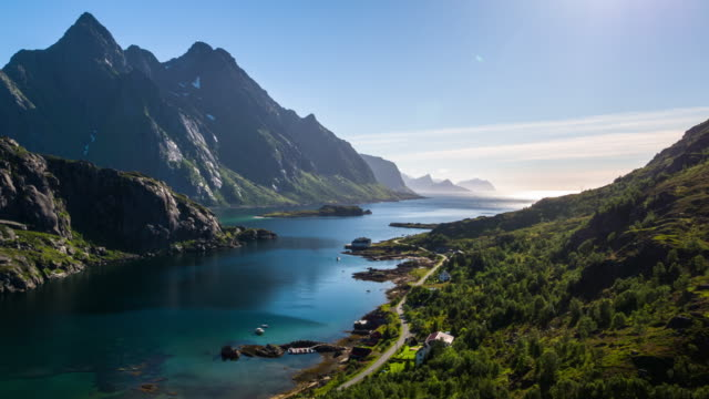 Idyllic fjord at the Lofoten Islands in Norway - Aerial View