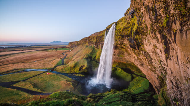 idyllic landscape in iceland - seljalandfoss waterfall - seljalandsfoss waterfall stock videos and b-roll footage
