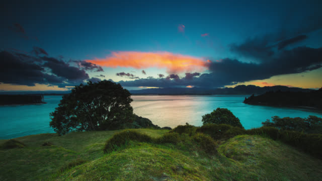 time lapse: idyllic landscape sunset - new zealand stock videos & royalty-free footage