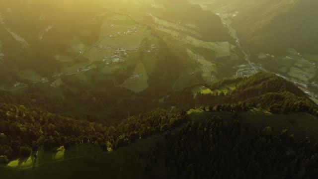 idyllic mountain landscape. drone point of view - トレンティーノ点の映像素材/bロール