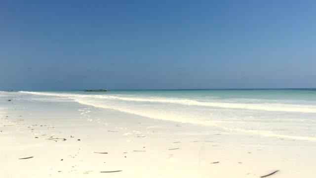 Idyllic Sandy Beach With Waves Splashing