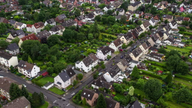 AERIAL: Idyllic suburban houses in Germany