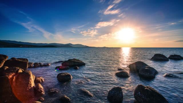 idyllic sunset at sea time lapse. thailand. koh samui - ko samui stock videos and b-roll footage