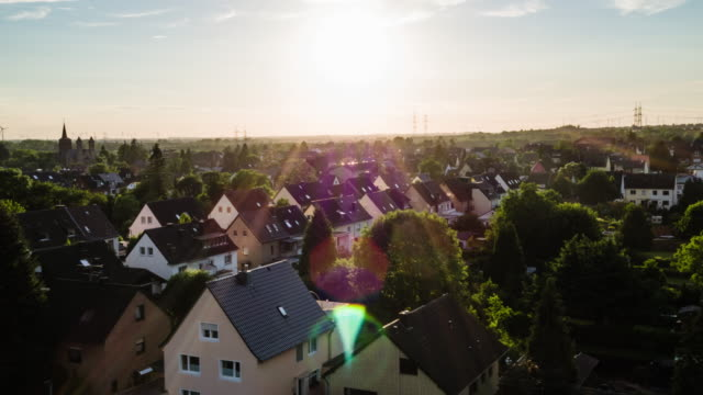 aerial: idyllic town in germany - quarter stock videos & royalty-free footage