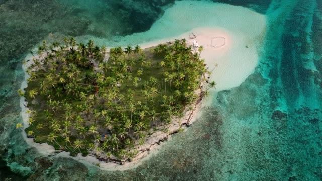 熱帯パナマ諸島の牧歌的な眺め。青い海と緑のジャングル。空中ビュー - パナマ点の映像素材/bロール
