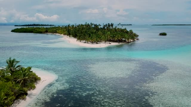 idyllic view of tropical panama islands. blue ocean and green jungle. aerial view - panama stock videos & royalty-free footage