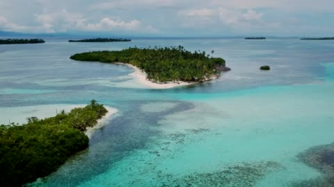 idyllic view of tropical panama islands. blue ocean and green jungle. aerial view - island stock videos & royalty-free footage