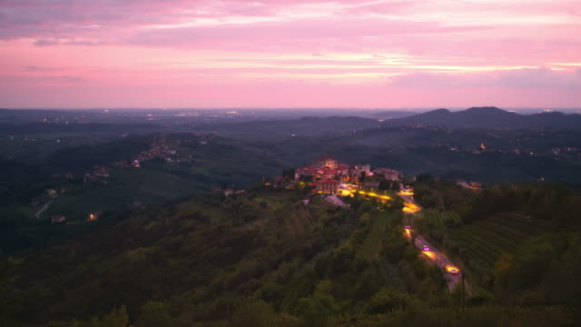 ls idyllic village on the top of a hill at dusk - remote location stock videos & royalty-free footage
