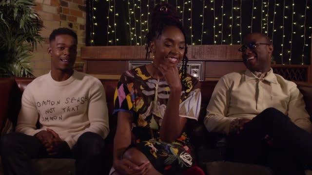 vídeos de stock, filmes e b-roll de if beale street could talk director barry jenkins and stars stephan james and kiki layne stopped by the los angeles times' toronto international film... - if beale street could talk