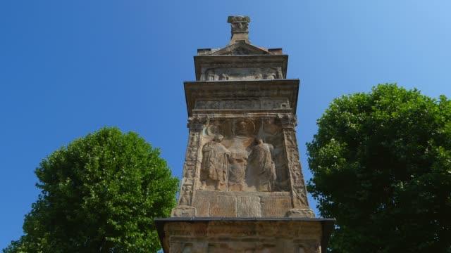 igel (igeler) column, a roman funerary monument, igel on moselle river, moselle valley, rhineland-palatinate, germany, europe - rhineland palatinate stock videos & royalty-free footage