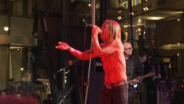 """iggy pop performs at the """"ash vs. evil dead"""" los angeles premiere and live performance by iggy pop at tcl chinese theatre on october 28, 2015 in... - bruce campbell stock videos & royalty-free footage"""