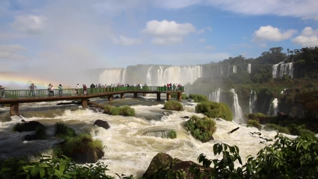 iguazu falls between brazil and argentina border - brazil stock videos & royalty-free footage