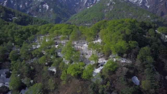 aerial ws iide mountains, bandai-asahi national park, oguni, yamagata prefecture, japan - yamagata prefecture stock videos & royalty-free footage