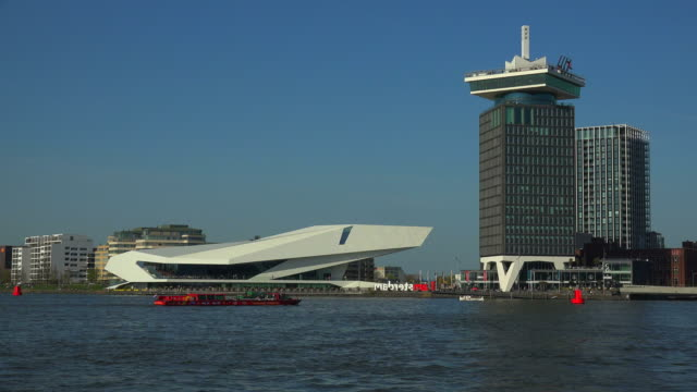Ij river, A'Dam Tower and EYE Film Museum , Amsterdam, North Holland, Netherlands