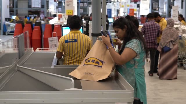 ikea which opened it's first indian store in august is seeking to wow india's burgeoning middle class with its nordic cool furniture and fittings as... - middle class stock videos & royalty-free footage