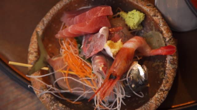 ikizukuri sushi meal at japanese restaurant - sashimi stock videos & royalty-free footage