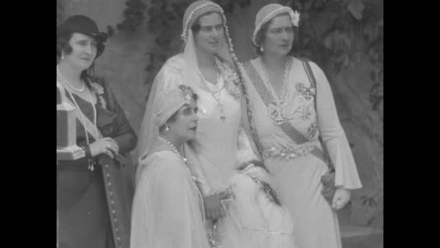 cu ileana with sister princess elisabeth their sisterinlaw princess helen on left their mother queen marie standing in front of them / cu anton and... - transilvania video stock e b–roll