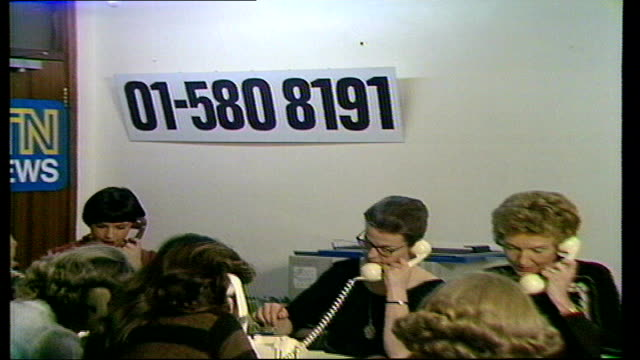 vídeos de stock, filmes e b-roll de ilford north by-elections: itn phone-in; england: itn house: gv phone-in girls - ilford