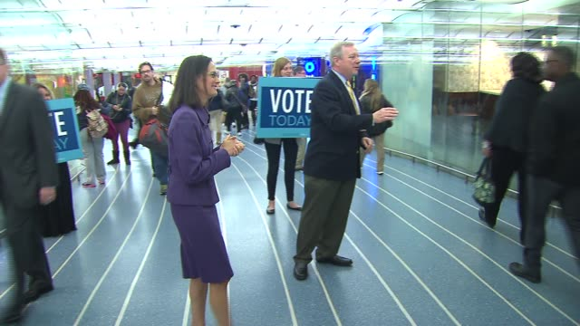 illinois attorney general lisa madigan and senator dick durbin greet constituents on election day nov 4 2014 - dick durbin stock videos & royalty-free footage