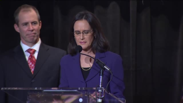illinois attorney general lisa madigan gives victory speech after winning fourth term in the 2014 midterm elections on nov. 4, 2014. - attorney general stock videos & royalty-free footage