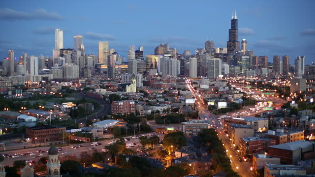 USA, Illinois, Chicago, Elevated view over the City skyline