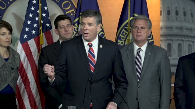 illinois congressman darin lahood tells reporters that despite the rhetoric, his hometown of peoria, illinois could not be more happy with tax reform... - economy class stock videos & royalty-free footage