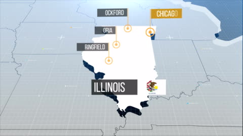 illinois map with label then with out label - illinois stock videos & royalty-free footage