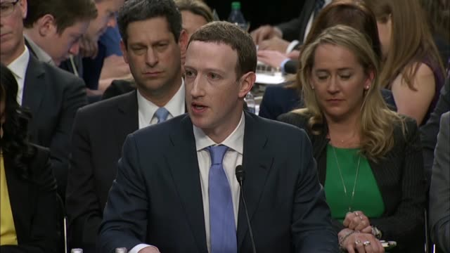 Illinois Senator Dick Durbin questions Facebook CEO Mark Zuckerberg at a joint hearing on data privacy about policies built around the app Messenger...