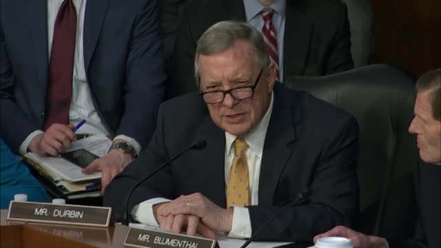 illinois senator dick durbin questions facebook ceo mark zuckerberg at a joint hearing on data privacy about how much personal data zuckerberg would... - dick durbin stock videos & royalty-free footage