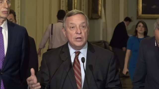 illinois senator dick durbin refers to a statement by south carolina senator lindsey graham at a preceding press briefing that the choice is not... - dick durbin stock videos & royalty-free footage
