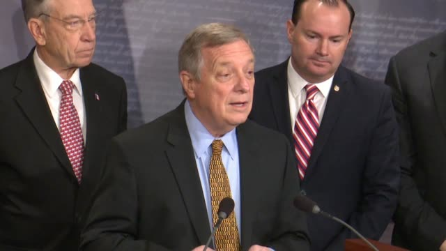 illinois senator dick durbin says at a bipartisan press conference after passage of criminal justice reform called the first step act that talk about... - dick durbin stock videos & royalty-free footage