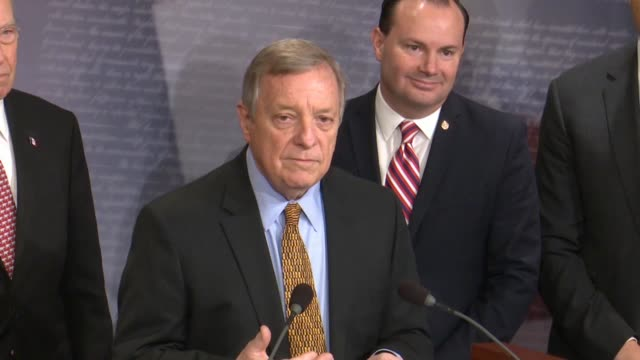illinois senator dick durbin says at a bipartisan press conference after passage of criminal justice reform called the first step act that the bill... - prison reform stock videos & royalty-free footage