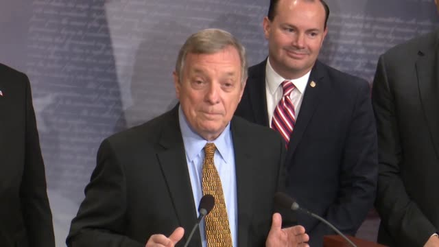 illinois senator dick durbin says at a bipartisan press conference after passage of criminal justice reform called the first step act that congress... - dick durbin stock videos & royalty-free footage