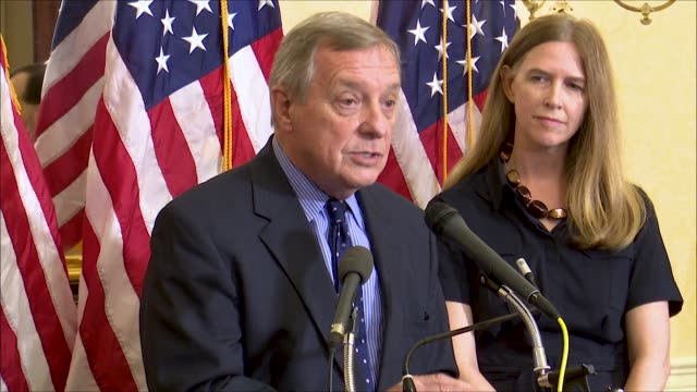 illinois senator dick durbin says at a news event of supreme court nominee brett kavanaugh that the american people expect a careful review of... - dick durbin stock videos & royalty-free footage