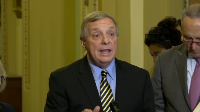 illinois senator dick durbin says at a weekly press briefing days before a fifth hearing with supreme court nominee judge brett kavanaugh that the... - dick durbin stock videos & royalty-free footage