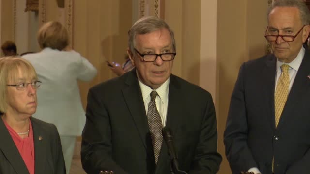 illinois senator dick durbin says at a weekly press briefing that all the democratic senators have disapproved of the immigration situation and to... - dick durbin stock videos & royalty-free footage