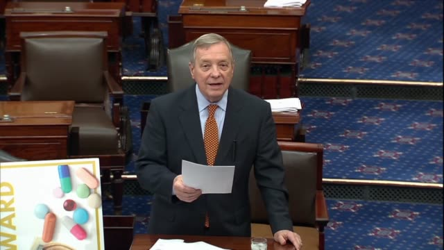 illinois senator dick durbin says in a discussion about pharmaceutical drug prices and provisions of the united states mexico canada trade agreement... - dick durbin stock videos & royalty-free footage