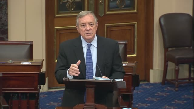 illinois senator dick durbin says in floor remarks about policing reform and the justice act introduced hours earlier by republicans that a democrat... - disegno di legge video stock e b–roll