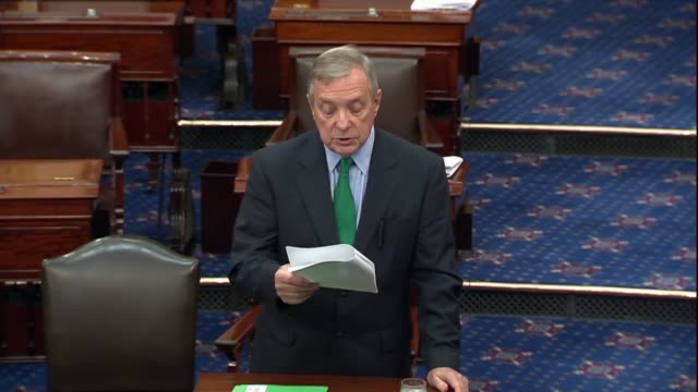 illinois senator dick durbin says on the floor that he would be introducing the tobacco tax equity act to establish the first federal ecigarette tax... - dick durbin stock videos & royalty-free footage