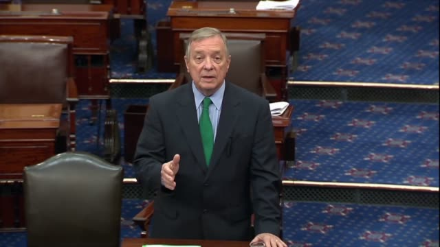 illinois senator dick durbin says on the floor that in the past many high schoolers using cigarettes did not completely quit but moved to tobacco... - dick durbin stock videos & royalty-free footage