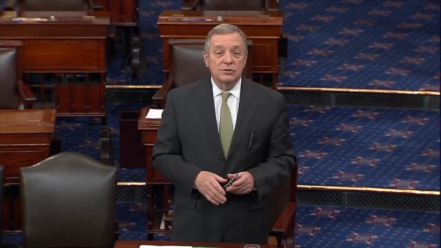 illinois senator dick durbin says one can read the constitution and not find the rationale of senate republicans to stop the merrick garland no... - dick durbin stock videos & royalty-free footage