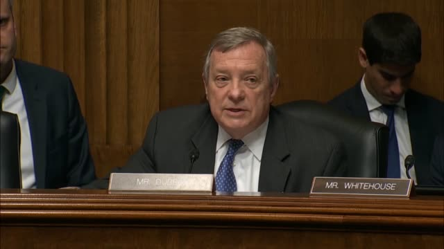 illinois senator dick durbin tells attorney general william barr at a senate judiciary committee hearing on the report of special counsel robert... - dick durbin stock videos & royalty-free footage