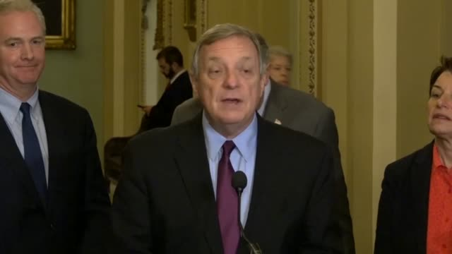 illinois senator dick durbin tells reporters at a weekly briefing that just weeks earlier president donald trump had decided to reimpose sanctions... - dick durbin stock videos & royalty-free footage