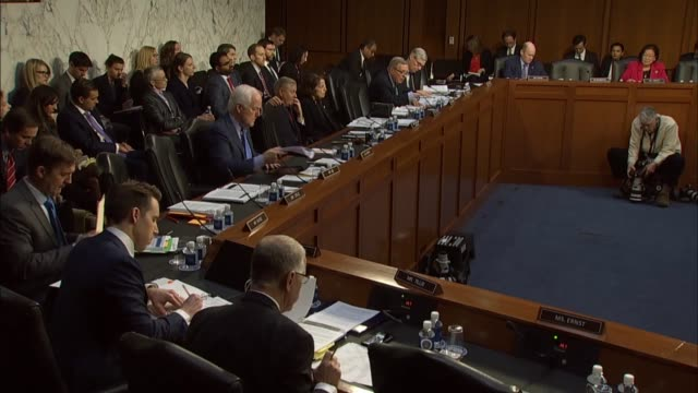 illinois senator richard durbin asks justice department inspector general michael horowitz at a senate judiciary committee hearing about fisa... - attorney general stock videos & royalty-free footage