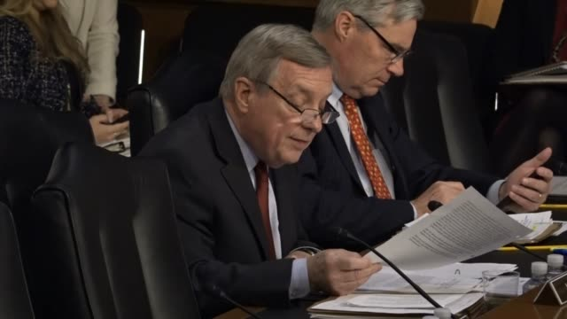 illinois senator richard durbin engages supreme court nominee judge neil gorsuch during the first round of questioning on the second day of his... - senate judiciary committee stock videos & royalty-free footage