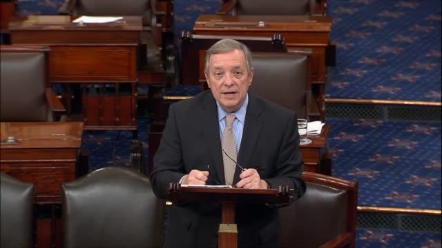 Illinois Senator Richard Durbin offers his views on the floor after the Senate voted to limit debate on the nomination of colleague Senator Jeff...