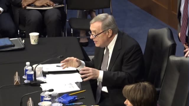 illinois senator richard durbin reads from a prepared statement at a meeting of the senate judiciary committee prior to a vote on sending the... - senate judiciary committee stock videos & royalty-free footage